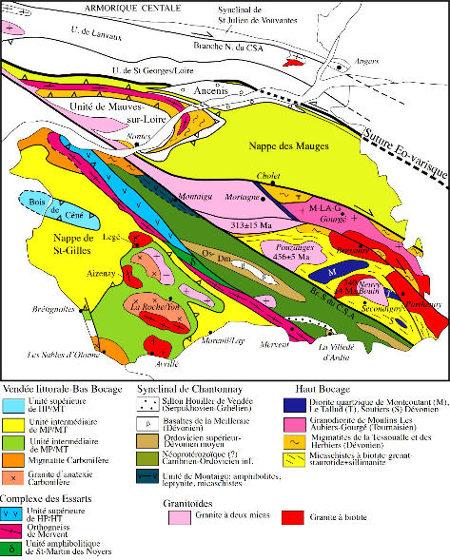 Schéma structural de la Vendée et du domaine ligérien