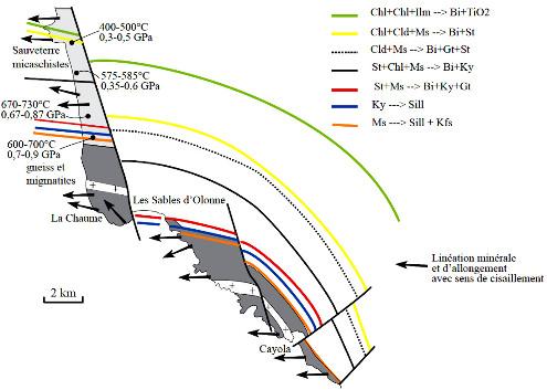 Carte du métamorphisme autour du dôme des Sables d'Olonne