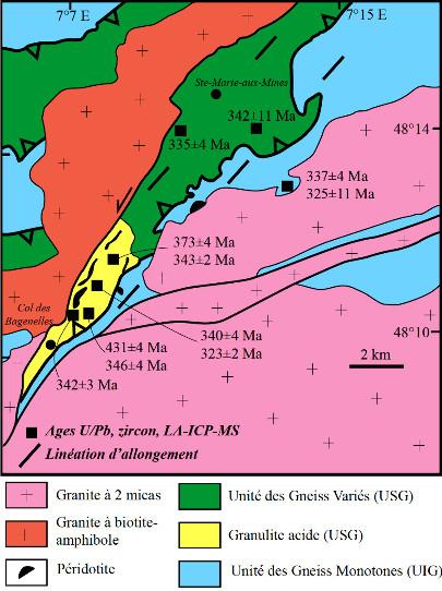 Schéma structural de la série de Sainte-Marie-aux-Mines montrant l'allochtonie de l'Unité des Gneiss Variés et des Granulites acides (équivalentes à l'Unité Supérieure des Gneiss) sur l'Unité des Gneiss Monotones (équivalente à l'Unité Inférieure des Gneiss)