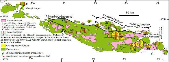 Carte des Pyrénées varisques montant les principaux plutons granitiques et les dômes migmatitiques plus développés à l'Est qu'à l'Ouest de la chaîne