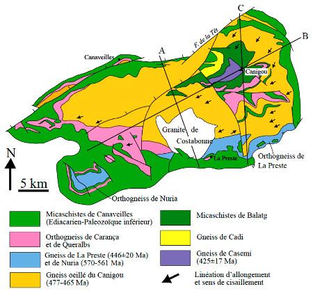 Schéma structural du Massif du Canigou