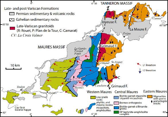 Schéma structural du Massif des Maures-Tanneron