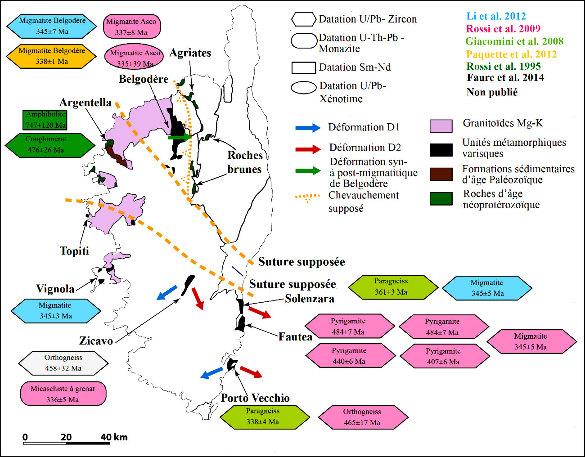 Schéma structural de la Corse varisque montrant les principaux septa varisques et pré-varisques dans le batholite corse, les datations radiométriques disponibles et les déformations ductiles varisques