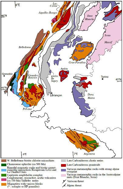Schéma structural du socle varisque des Alpes