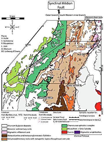 Carte géologique du socle varisque de Belledonne (Alpes)