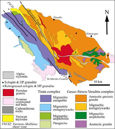 Schéma structural du massif cristallin externe de l'Argentera (Alpes)