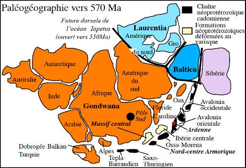 Reconstitution paléogéographique de la Pannotia à l'Édiacarien (vers 570Ma) centrée sur le pôle Sud