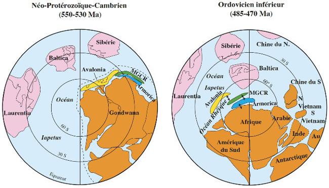 Reconstructions paléogéographiques du futur domaine calédono-varisque à l'Édiacarien et à l'Ordovicien inférieur