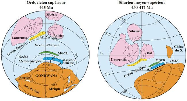 Reconstruction paléogéographique du domaine calédono-varisque à l'Ordovicien supérieur et au Silurien moyen-supérieur