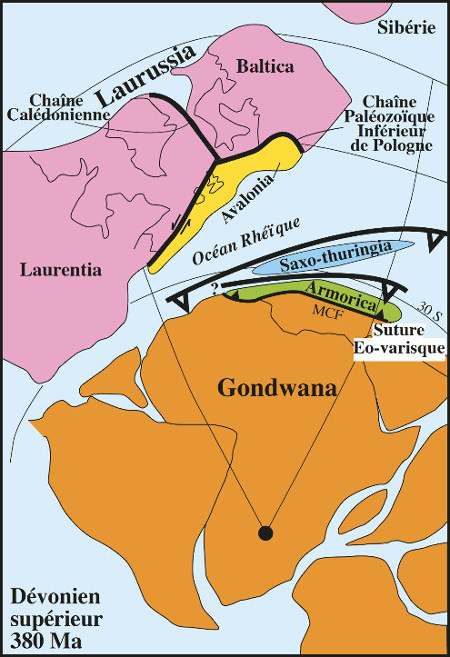 Reconstruction du domaine varisque au Dévonien supérieur (vers 380Ma)