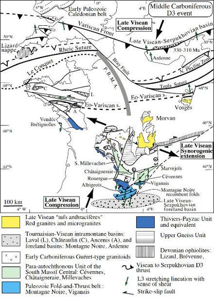 Schéma structural de l'évènement D3 (Viséen-Serpukhovien) montrant les régions soumises à la compression (Sud du Massif Central, Ardenne) ou à l'extension (Nord et centre du Massif Central)