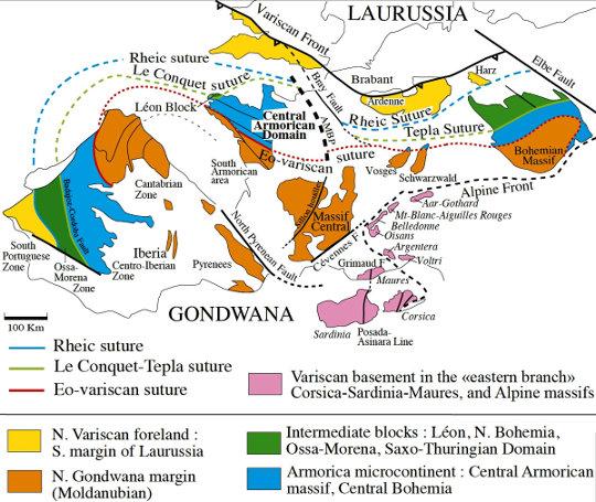 Schéma tectonique de la chaine varisque Ouest-européenne et des trois sutures séparant les blocs continentaux