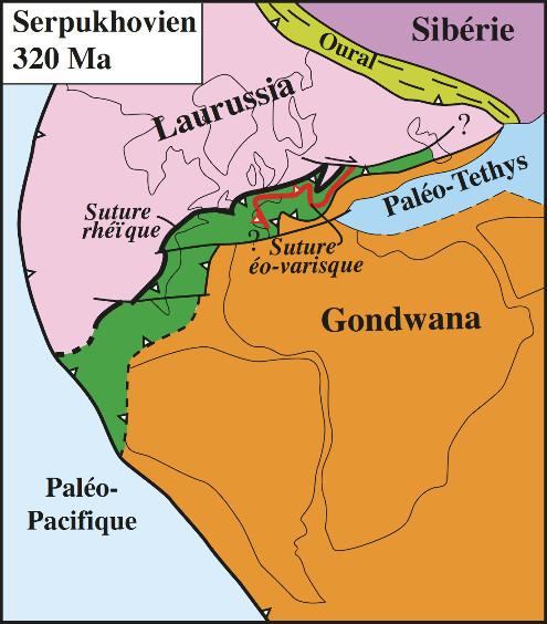 Carte paléogéographique de la chaine varisque au Viséen-Serpukhovien (Carbonifère inférieur)