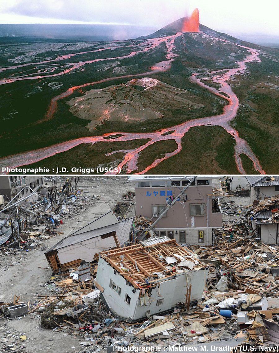 Deux exemples de manifestations spectaculaires mais quantitativement anecdotiques de la production / libération d'énergie par la Terre: l'éruption du Pu'u O'o en 1986, et les dégâts du séisme et du Tsunami japonais de 2011