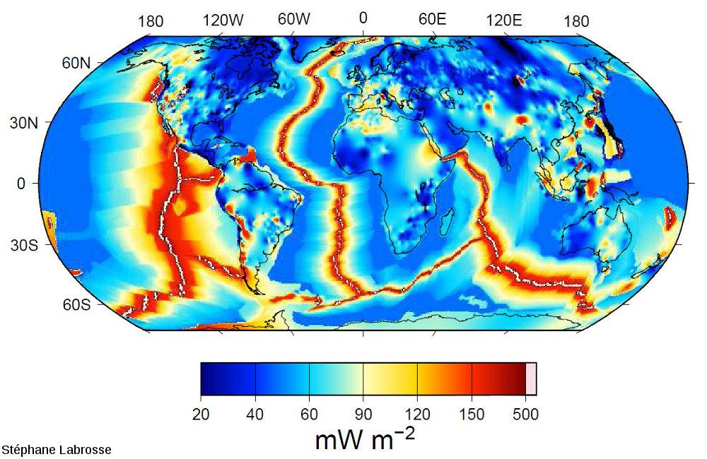 Carte du flux thermique mondial