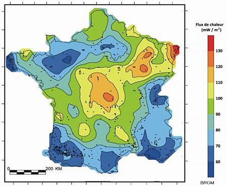 Carte du flux thermique en France métropolitaine, réalisée en 1989