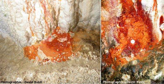 Dépôts d'oxydes de fer (couleur rouille) et de sulfate de calcium (couleur blanche)
