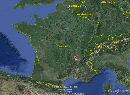 Localisation du massif du Pilat, en France