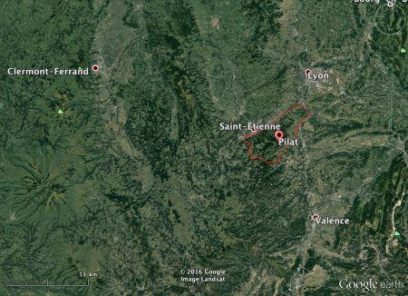 Localisation du massif du Pilat, en bordure orientale du Massif Central