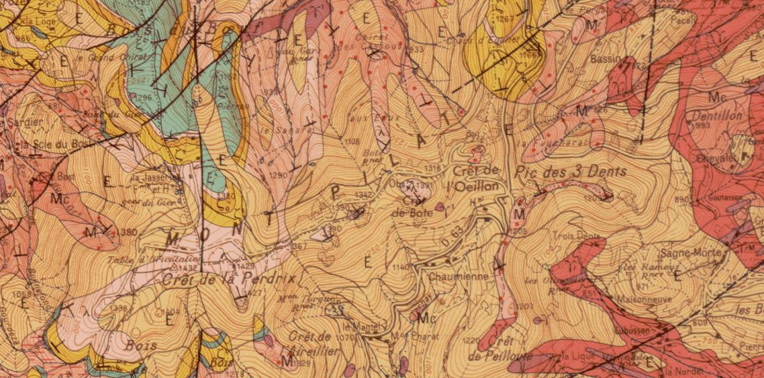 Extrait de la carte géologique de Saint-Étienne au 1/500000