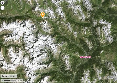 Localisation du massif du Combeynot, non loin de Briançon
