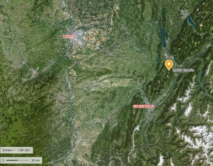Localisation du Mont Granier, au Nord du massif de la Chartreuse