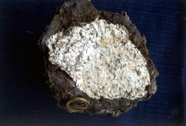 Enclave de granite hercynien dans un basalte quaternaire de la Chaîne des Puys (Maar de Beaunit)