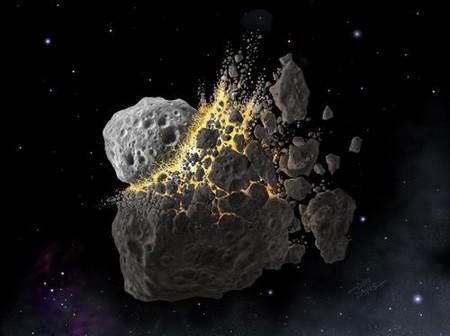 Vue d'artiste du choc entre deux astéroïdes