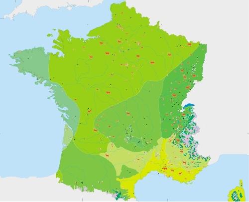 La France à l'optimum climatique holocène (8000 ±1000ans BP)