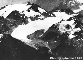 Le glacier South Cascade en 1928