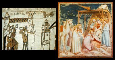La comète de Halley sur la Tapisserie de Bayeux (en haut à droite sur l'image de gauche) et sur une fresque de Giotto (en haut au centre sur l'image de droite)