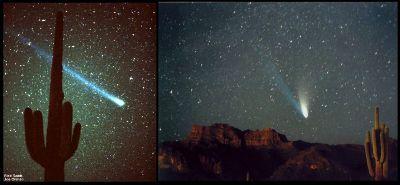 La comète Hyakutake en 1996 (à gauche) et la comète Hale Bopp en 1997 (à droite)