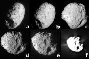 Cinq vues d'ensemble du noyau de Wild2, ce qui en montre la rotation, et une sixième, surexposée pour en montrer les jets