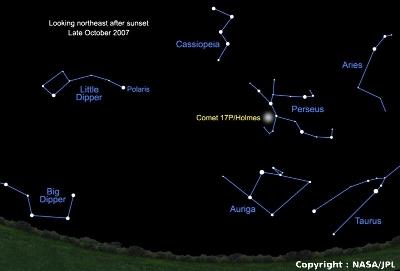 Localisation de la comète dans la constellation de Persée