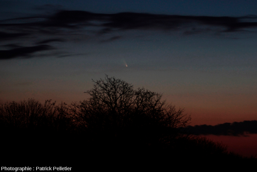 La comète Panstarrs vue depuis la région de Vichy, 14 mars 2013 à 19h54