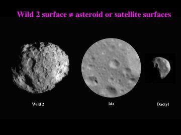 Comparaison de trois images de trois surfaces observées à la même échelle sur Wild 2, Ida et Dactyl (deux astéroïdes)