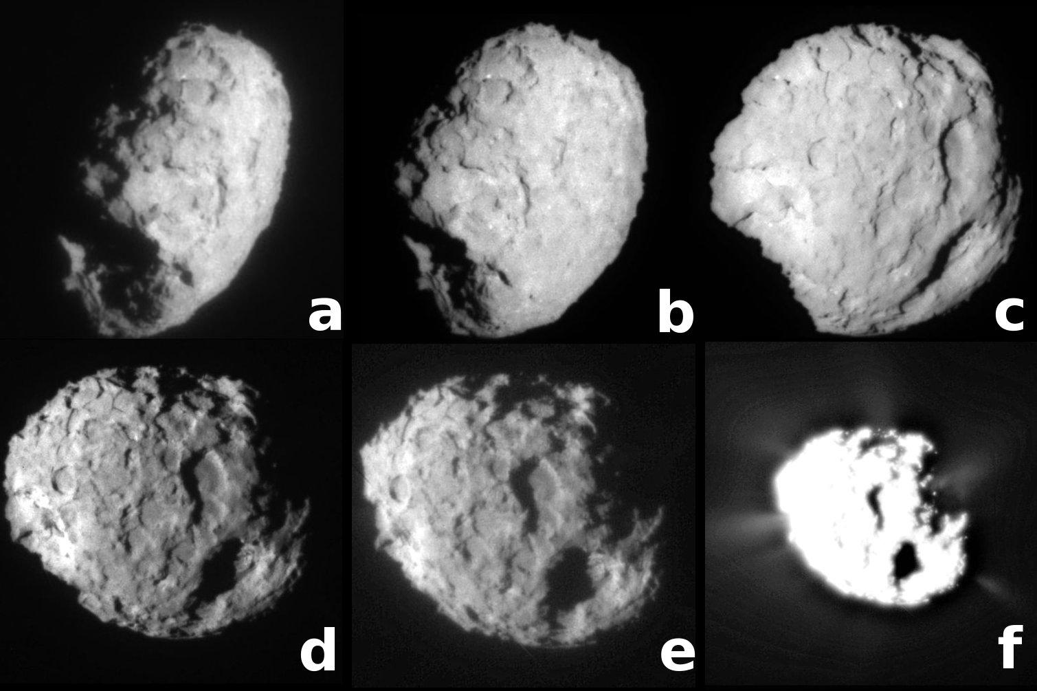 Photographies montrant les divers aspects de la comètes Wild 2 en cours de rotation