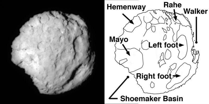 Carte de l'une des faces de la comète Wild 2 réalisée à partir d'une image obtenue par Stardust en janvier 2004