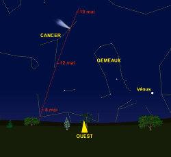 Carte du ciel avec la position de la comète C 2001 Q4 Neat durant les 3 premières semaines de mai 2004