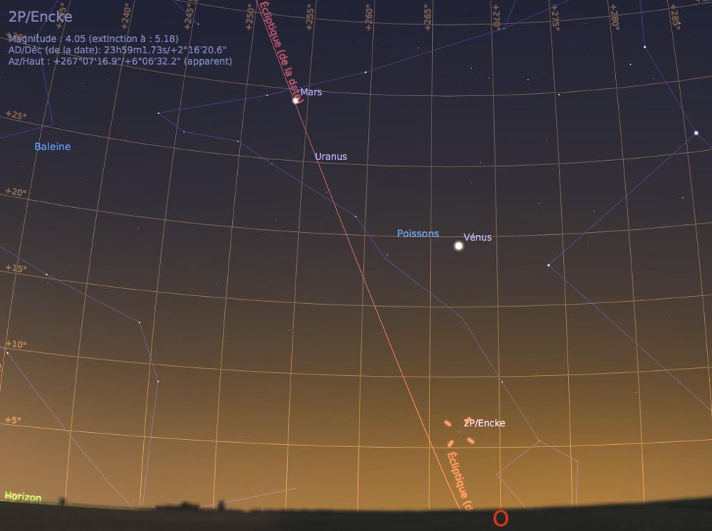 Vue du ciel à l'œil nu en direction de l'Ouest, au crépuscule du 5 mars 2017, vers 19h20
