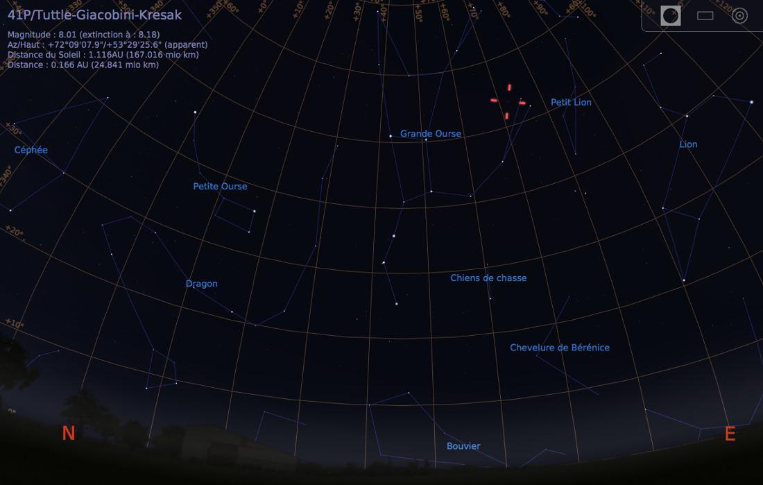 Vue du ciel à l'œil nu en direction du Nord-Est, le soir du 13 mars 2017, vers 20h