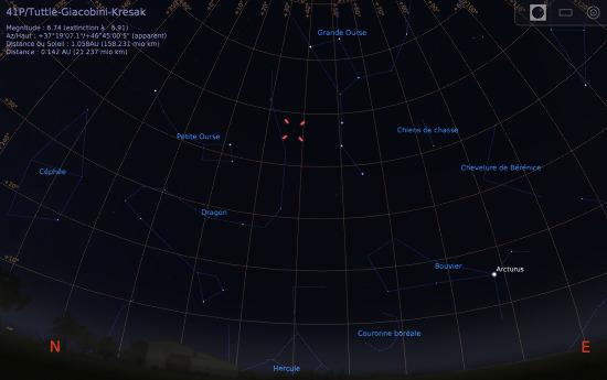 Vue du ciel à l'œil nu en direction du Nord-Est, au soir du 31 mars 2017, vers 21h30