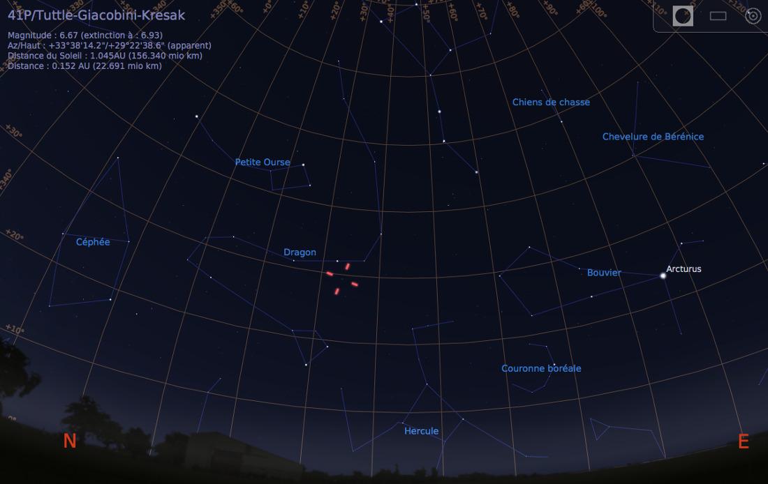 Vue du ciel à l'œil nu en direction du Nord-Est, au soir du 12 avril 2017, vers 21h30