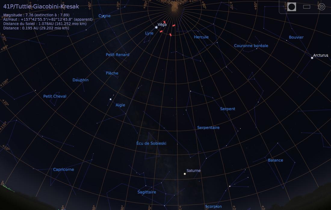Vue du ciel à l'œil nu en direction du Sud, avant l'aube du 2 mai 2017, vers 5h du matin