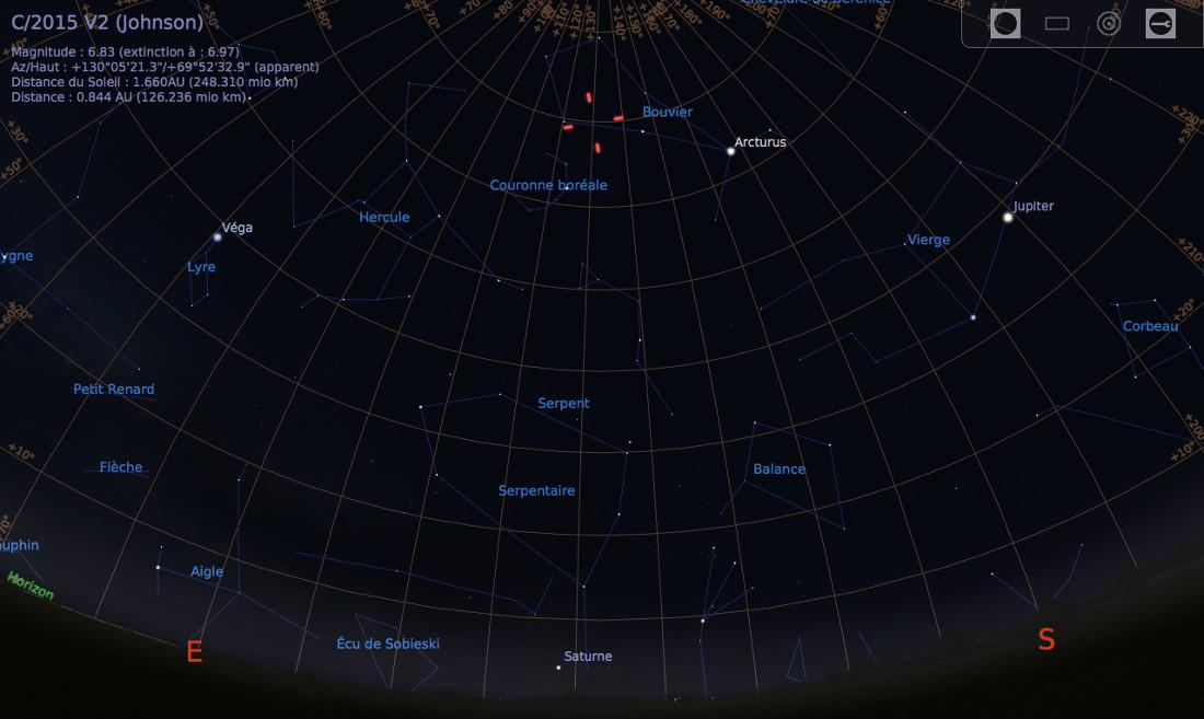 Vue du ciel à l'œil nu en direction du Sud-Est, le soir du 22 mai 2017, vers 23h30