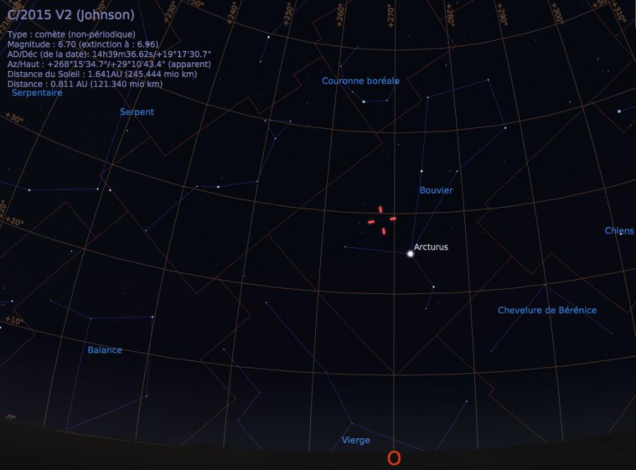 Vue du ciel à l'œil nu en direction de l'Ouest, avant l'aube du 4 juin 2017, vers 4h00