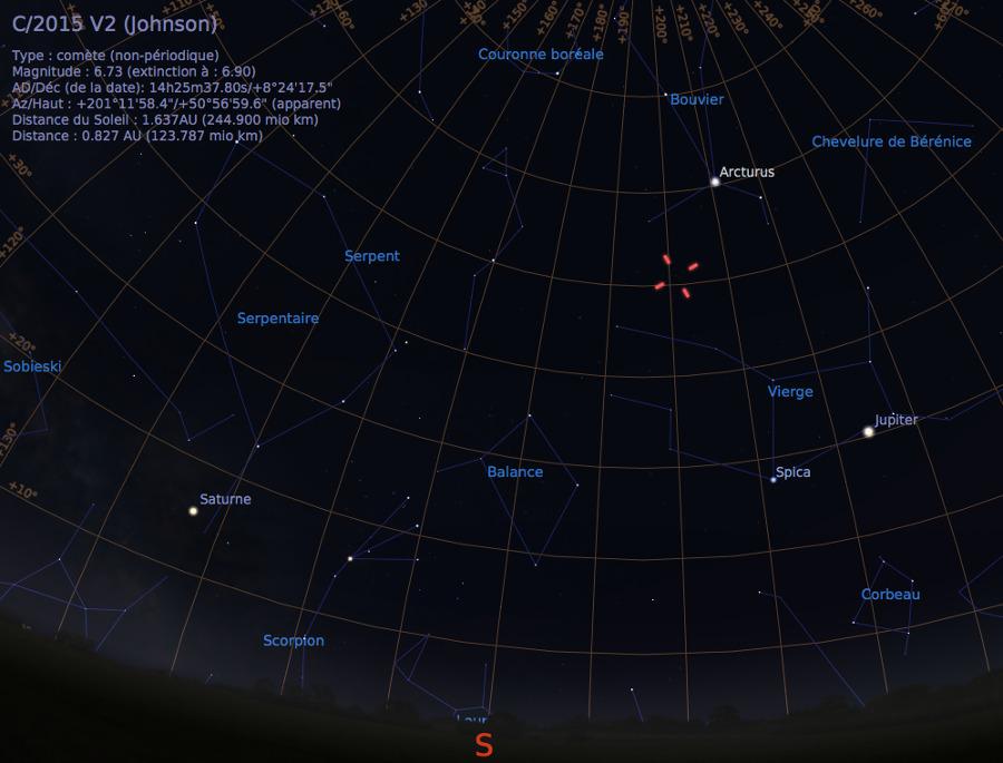 Vue du ciel à l'œil nu en direction du Sud, au soir du 13 juin 2017, vers 23h30