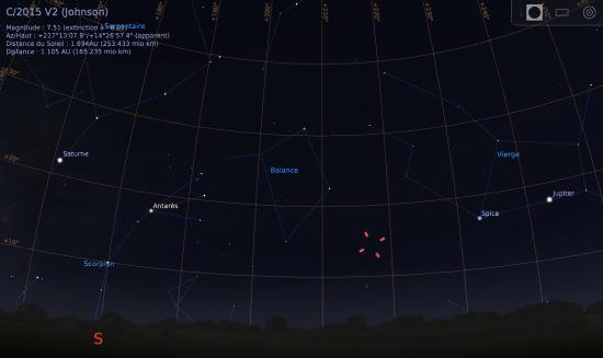 Vue du ciel à l'œil nu en direction du Sud, le soir 14 juillet 2017, vers 23h (sans les feux d'artifice)