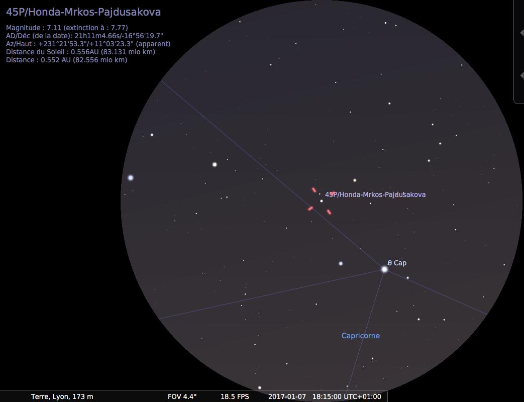 Champ de jumelles 10 à 15x sur la comète 45P/HMP, le 7 janvier 2017 à 18h15