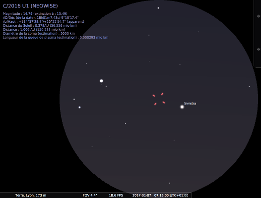 Champ de jumelles 10 à 15x sur la comète C/2016 U1, le 7 janvier 2017 à 7h15